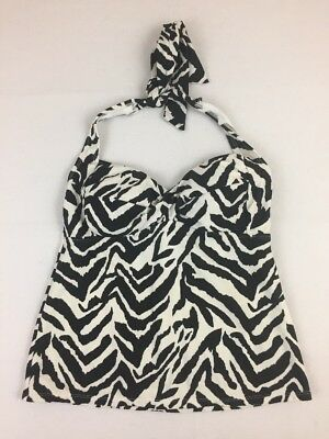 a3ddd6338b Catalina Tankini Swimsuit Top Size Small 4 6 Black White Zebra Print Halter  S