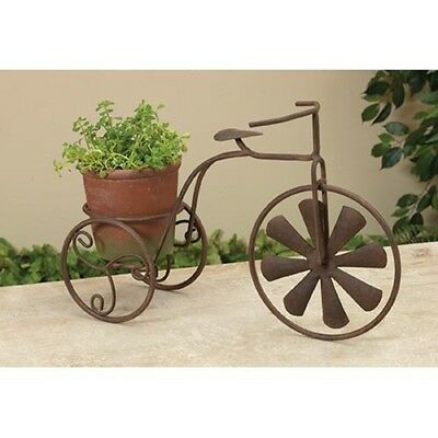 """Vintage Country Rustic Metal & Cement Tricycle Planter Garden Stand Decor 14.5"""""""