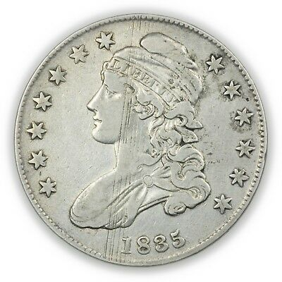 1835 Capped Bust Half Dollar, Adjustment Marks, Circulated Silver Coin [3678.06]