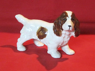 Vintage porcelain Springer Spaniel dog figurine, brown and white