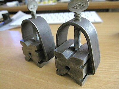 Vintage, Pair Of L.s. Starrett V Blocks  With Clamps, For Tool Shop Use.