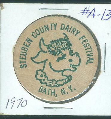 #A-13 Vintage Bath Steuben Co NY Historical Wooden Nickel Dairy Festival 1970