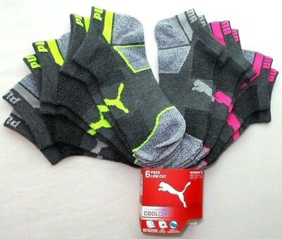 Puma Women's Low Cut Socks 6 Pack 9-11 Grey Neon Athletic Sport Cool Cell New