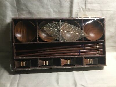 4 Wood Sushi Serving Set Chopsticks Bowls & Rests Asian from Thailand !! NEW