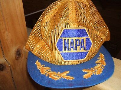 a6bdd3507ec VINTAGE Napa Auto Parts Hat Cap Yellow Blue Snap Trucker Mesh MADE USA PATCH