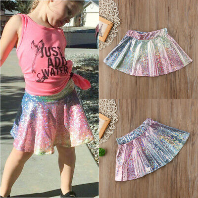 US STOCK Kids Baby Girl Infant Rainbow Princess Party Tulle Tutu Skirt Dresses
