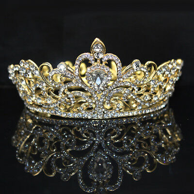 New Women Rhinestone Round Crown Tiara Wedding Bridal Pageant Headpiece Precious