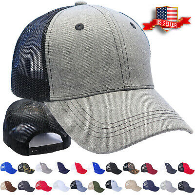 Trucker Hat Cotton Mesh Solid Washed Polo Style Baseball Cap Visor Summer Mens