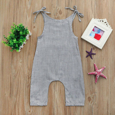 US Toddler Infant Baby Boys Girls Flax Sleeveless Braces Romper Jumpsuit Outfits