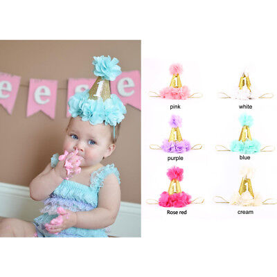 Baby Girls 1st First Birthday Party Hat Headband Cake Smash Photo Prop Outfit US