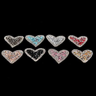 Bling Rhinestones love heart Embroidered Patch Iron on Sewing Crystal Applique3C
