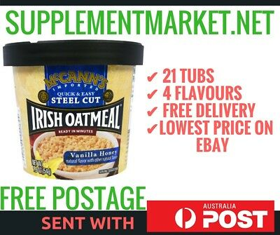 21 x MCCANN'S IRISH OATMEAL QUICK and EASY STEEL CUT 4 FLAVOURS AVAILABLE CEREAL