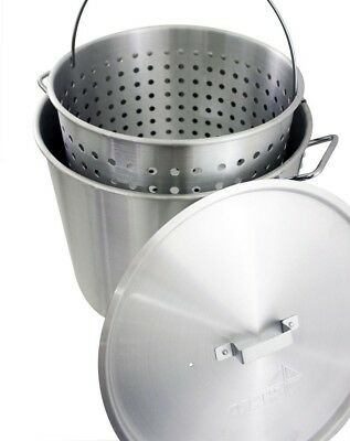 Aluminum Stock Pot Riveted Handles Vented Cover Perforated Strainer Cookware