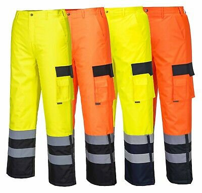 Portwest Hi-Vis Contrast Trousers - Lined Waterproof Lined Cargo Work S686