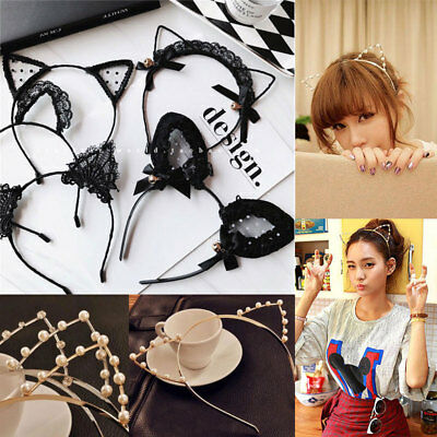 Women Girls Cat Ears Fashion Pearl Rhinestone Lace Alloy Headband Hair Band Cute