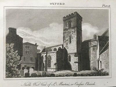1820 Antique Print; St Martin's or Carfax Church, Oxford after Buckler