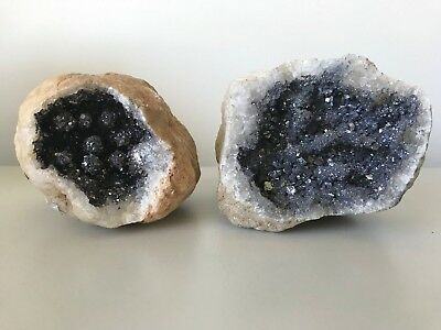 2x SILVER DYED GEODE HALVES