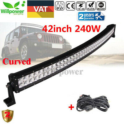 42Inch 240W Led Curved Work Light Bar Spot&Flood Combo Driving Roof Lamp Offroad