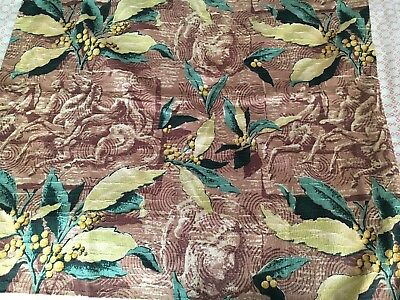 Vintage Mid-Century Roman Classical Bark Cloth Lined Curtain Panel 30 X 28""
