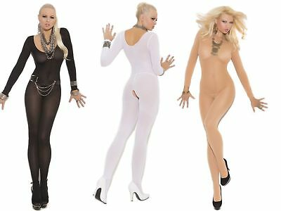 Elegant Moments Long Sleeve Opaque Bodystocking - Black White Nude - Size 8 - 20