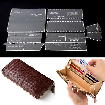 7 Pcs Leather Craft Acrylic Long Wallet Pattern Stencil Template Tool DIY Set