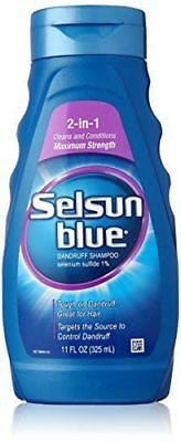 Selsun Blue 2 In 1 MAXIMUM STRENGTH Dandruff Dermatitis Treatment Shampoo 11oz