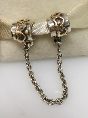 New Genuine Pandora Safety Chain Heart With 14k Yellow Gold  790307-05