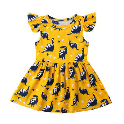 UK Stock Kids Baby Girls Dinosaur Party Pageant Princess Dress Sundress Clothes