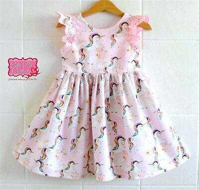 UK Kid Baby Girls Lace Cartoon Unicorn Party Pageant Tutu Dress Sundress Clothes