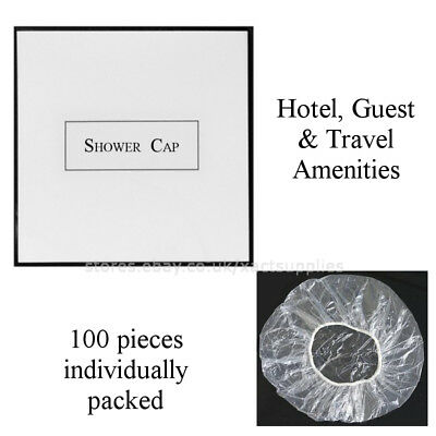 100pcs Elasticated Clear Shower Cap Disposable Hair Mask Travel & Hotel Supplies