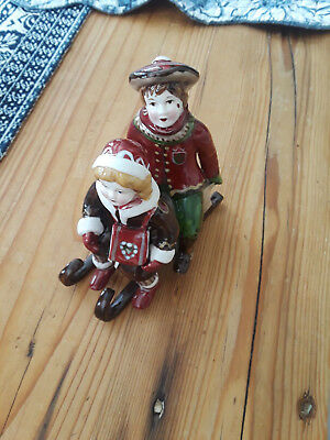 Vintage Villeroy & Boch Porcelain  Figurine Boy & Girl on a Sled Winter Joy