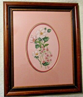 "Completed and Framed Counted Cross Stitch ""Flowers"""