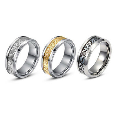 Stylish Men Silver Celt Dragon Stainless Steel Wedding Band Ring Gift Size 6-13