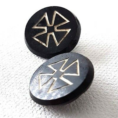 2 Antique Buttons IRON CROSS Black Glass Victorian era