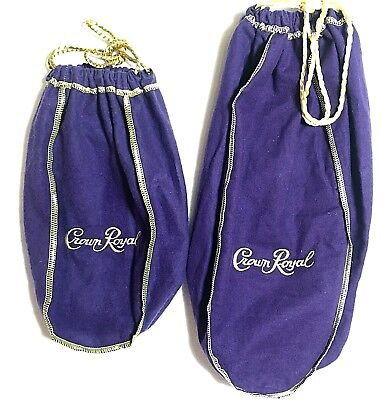 Crown Royal Purple Bags Cotton Felt Drawstring Bags Lot of 2 Sizes
