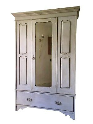Antique Edwardian  French Style Painted Grey Wardrobe Solid Pine Hall Cupboard