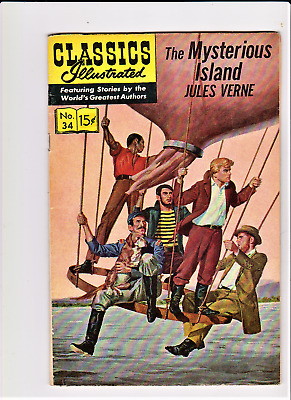 CLASSICS ILLUSTRATED - THE MYSTERIOUS ISLAND  October 1963  #34 HRN 167