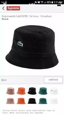 Supreme x Lacoste SS18 Velour Crusher Bucket Hat Black Size M L Retail  60  New cb96a4d9e51