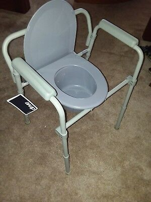 Drive Medical Steel Folding Bedside Commode Adult Potty Chair Cover Toilet Seat