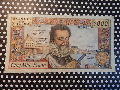 "1958 France 5000 Francs French note - ""Henri IV"""