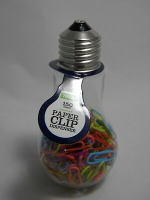 Light Bulb Paper Clip Dispenser 150 Colorful Paper Clips Holder Office Supplies