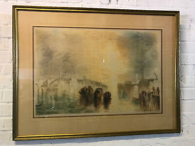 Antique Large French Richard Ranft Signed Etching Print Bidding Farewell Venice