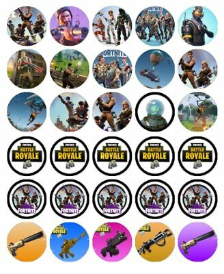 "30 FORTNITE 1.5"" (35mm) EDIBLE CUPCAKE WAFER PAPER CAKE TOPPERS #1"