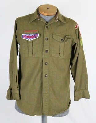 Vintage Boy Scouts of America Shirt VTG Wool Green Button Up Long-sleeve