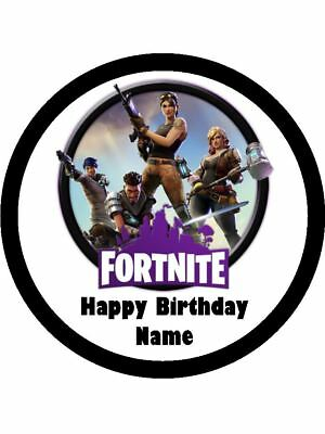FORTNITE Edible Wafer Paper Birthday Cake Decoration & 12 Cupcake Toppers #1