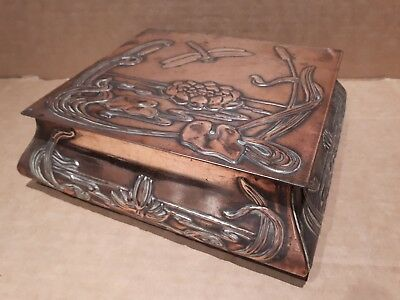 Arts & Crafts Art Nouveau Nickel Tin Copper Box Dragonfly Lid  LOVELY PATINA