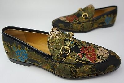 1746adb8ddf Gucci Jordaan Jacquard Bit Loafers Men s Floral Flower Shoes Size 10 UK  11  US