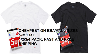 Supreme Hanes Tees T Shirt Black White Short Sleeve Size S-XL 1/2/3 Pack NEW