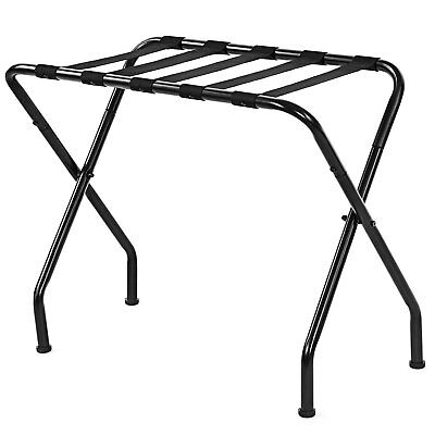 Metal Folding Luggage Rack Black