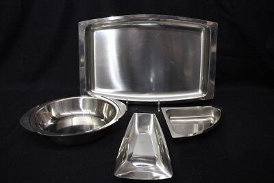 Mixed Lot of Vintage Mid Century Modern Stainless Bowls, Platter & Kitchenware